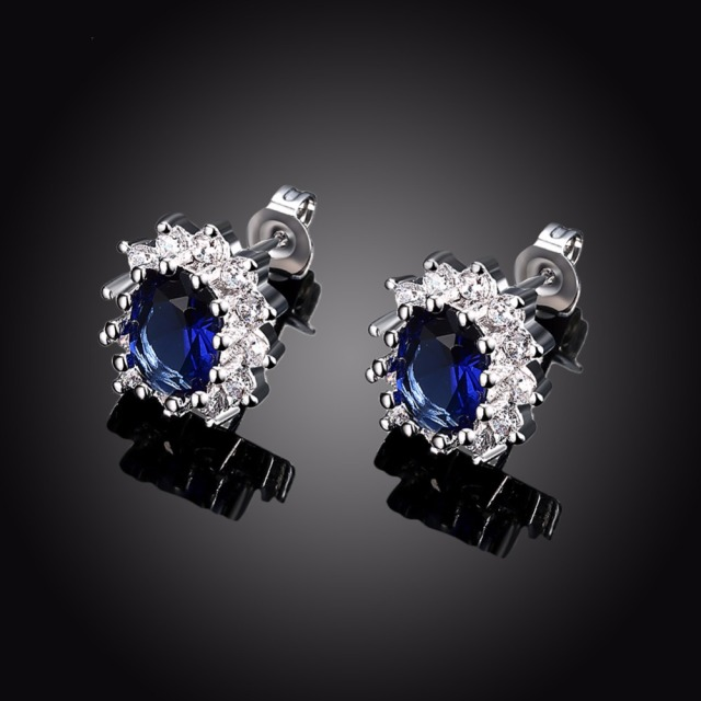 Jemmin High Quality Fine Jewelry 925 Sterling Silver Sapphire Wedding Stud Earrings For Women Brincos Bijoux