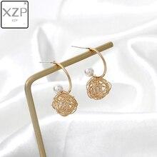 XZP S925 Geometric Wire Woven Ball Dangle Earring for Women 2019 Imitation Pearl Hanging Drop Statement Jewelry