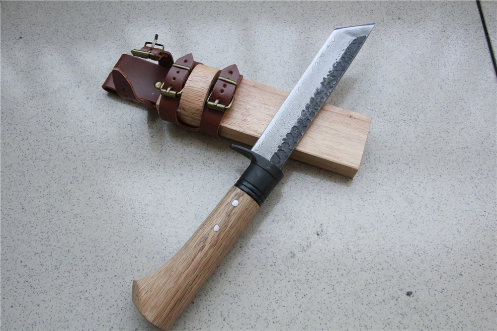 Damascus steel hunting knife wood handle wood sheath can wear outdoor forest machete carpentry knife camping survival lightweigh damascus handle hunting knife