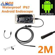 Горячая 6 LED 5.5 мм Объектив Android USB Эндоскоп Водонепроницаемая Инспекция Бороскоп Tube Камеры 2 М