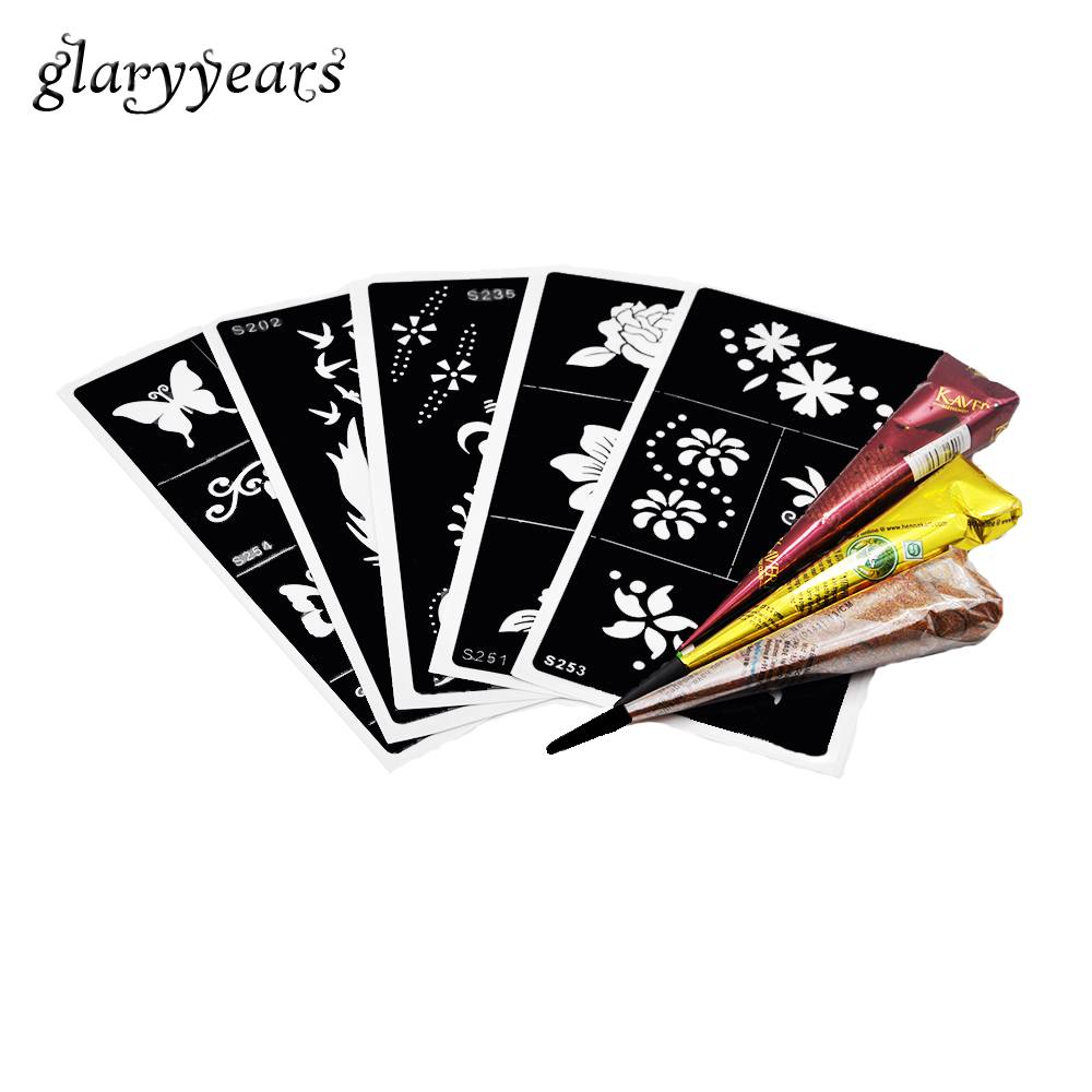 5 Pieces Medium Tattoo Stencil + 3 Piece Henna Paste Cone Colored Flower Feather Drawing for Unisex Body Painting Tattoo Sticker