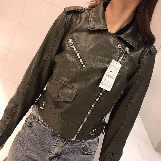 2019 Mới Thời Trang Phụ Nữ Mùa Thu Mùa Đông Xe Máy Faux Leather Jacket Lady Đinh Tán Biker PU Dây Kéo Áo Khoác Ngoài Áo Khoác