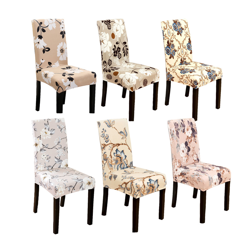Comwarm Modern Dining Room Chair Cover Spandex Stretch Polyester Totem Elegant Floral Pattern Seat Cover Hotel Office Chair Case
