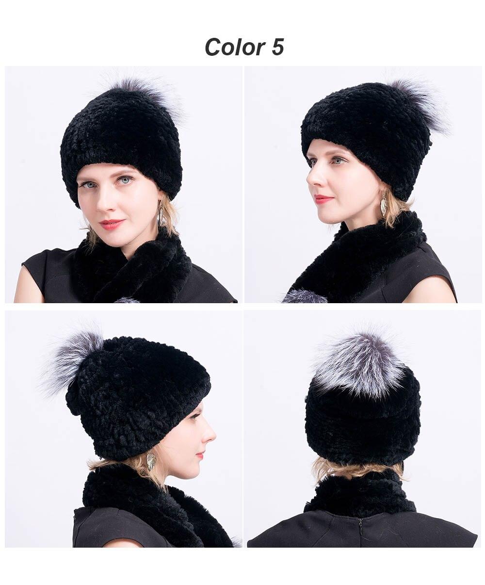 rex rabbit fur hat pompom color 5