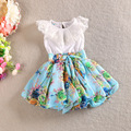 HIHEART 2016 Little Girls Elegant lacing Casual Dresses Baby Girls Printing Summer Dresses Children Bow-knot Fashion Clothing