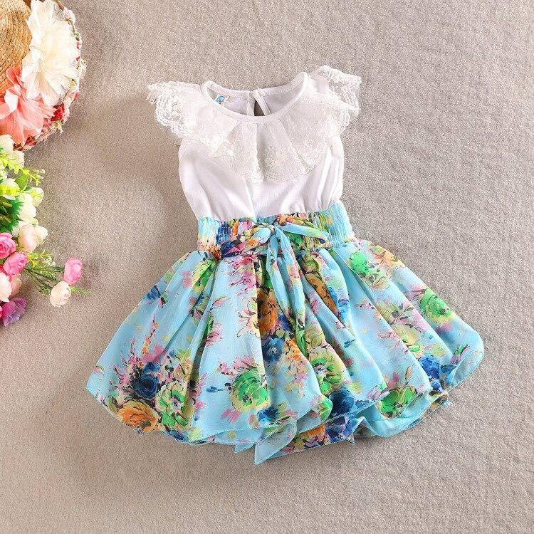 9c55a0b80 HIHEART 2016 Niñas Elegante cordón Ocasional Vestidos de los Bebés de la  Impresión Del Verano Vestidos de Los Niños Del Arco nudo Ropa de Moda en  Vestidos ...
