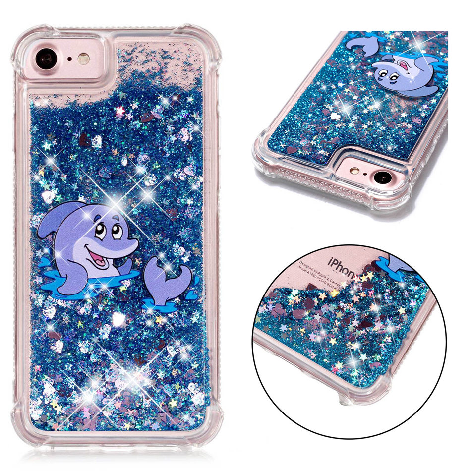 Cute Frog Dolphin Deer Pandas Phone Case For iPhone X 8 7 6S 6 Plus 5 5S SE Soft Back Cover For ipod 6 Shining Cases Capa P03G in Half wrapped Cases from Cellphones Telecommunications