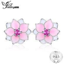 485bb245b Jewelrypalace 925 Sterling Silver Earrings Stud Earrings Pink Enamel Magnolia  Bloom Flower Unique Elegant Gifts For Women Girls
