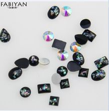 Nail Art Wheel DIY Design 3D Tips Decoration Acrylic Black Chameleon Shell Studs Steeple Rhinestones Accessories Manicure Tools