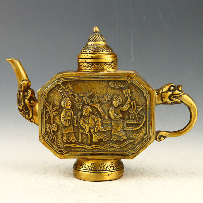Exquisite Collection Chinese Exquisite Brass Handwork Carved The Ancients And Flower Tree Pattern Teapot Water Pot Tea Set|Statues & Sculptures| |  - title=