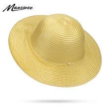 b221fc200b9 Wide Brim Floppy Plastic Straw Hats Beach Sun Hat Summer Women Man Cap UV  Protect Travel Caps Lady Girls Female Visor Hats 2018