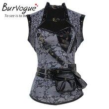 Burvogue Women Corset Slimming Steampunk Corset Overbust Waist Trainer Corset and Bustiers Top Steel Bone Waist Trainer Control