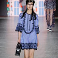 2017 primavera azul listrado lace runway dress
