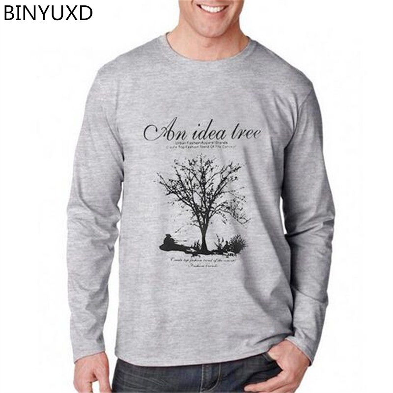 BINYUXD Long Sleeve   T  -  shirt   men Environmental Friendly Print   T     Shirt   male Casual fashion large size Tshirt Brand-Clothing S-5XL
