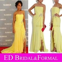 Kerry Washington Kleid Gelb Liebsten Chiffon Abendkleid Abendkleid Berühmtheit Kleid Glamour Frauen Des Jahres 2011