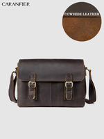 CARANFIER Mens Travel Bags 100% Genuine Cowhide Leather Buckled Shoulder Bags Vintage Business Multi Function High Quality Bags