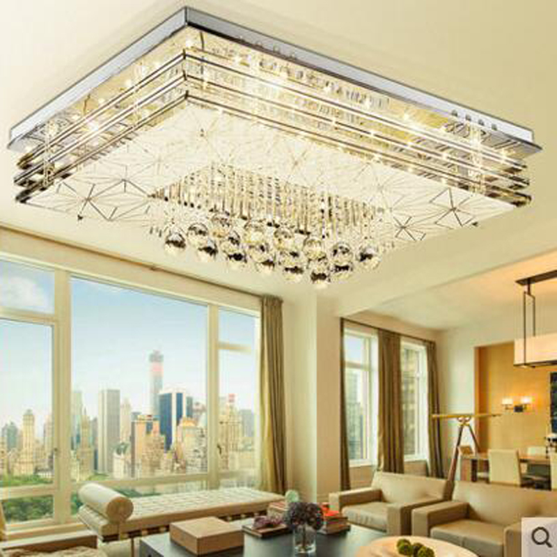 Rectangular Living Room Crystal Ceiling Lamp LED Bedroom