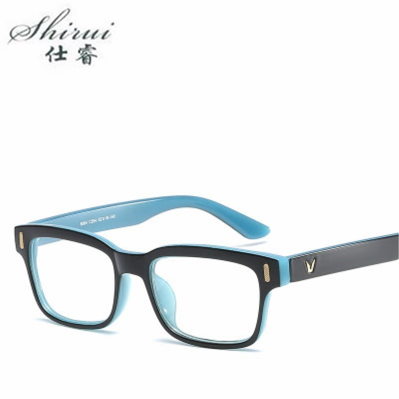2018 New Designer Woman Glasses Optical PC Frames Rectangle Glasses Frame Clear Lens Eyeware Black Blue Eye Glass 9 Colour