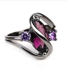 De moda Vintage de lujo de circón púrpura de cristal de CZ anillos de colores para las mujeres boda joyería de compromiso anillos de acero inoxidable