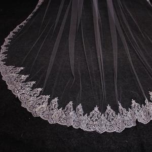 Image 3 - Nova uma camada 4 metros bling lantejoulas borda do laço de luxo longo véus casamento com pente alta qualidade branco marfim véu nupcial