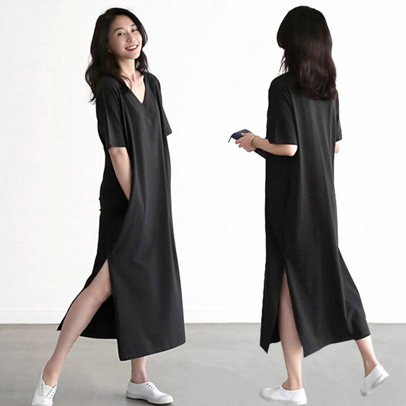 Spring New Solid Split Home Dress Cotton Comfortable Sleepwear Loose V-Neck Nightdress Intimate Lingerie Korean Bathrobe Lounge