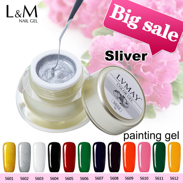 3 Jar Lvmay Brand Sliver Color UV Curing Gel Nails Polish Painting For Nailart Acrylic
