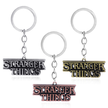Rongji jewelry Stranger Things letter keychain car bag keyring Pendant llaveros Charms fashion jewelry accesorios elsadou stranger things vinyl action figure and keychain