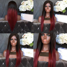 Dark Roots Ombre Red Glueless Full Lace Wigs 100% Human Hair Silky Straight Virgin Hair Gluless Lace Front Wig For Black Women