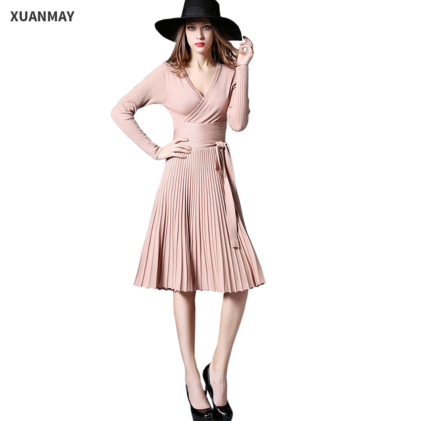 2017 Spring women's Sexy dress fashion Slim Stretch Long-sleeved knit dress Large size women's Spring new women's fashion
