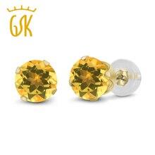 Genuino 14 K Oro Amarillo 0.52 Ct Redondo 4mm Amarillo Natural Citrino Stud Pendientes de Lujo Joyería de Las Mujeres 2016 Nuevo GemStoneKing