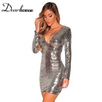 Dear Lover Silver Sequin Dress Autumn Winter V Neck Long Sleeve Women Office Dresses Sexy Party