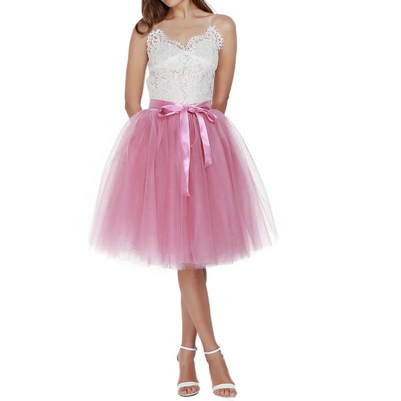 26 colores 5 capas 65cm longitud de la rodilla falda de tul tutú mujeres falda alta cintura plisada falda Cosplay enagua cinturón elástico Faldas