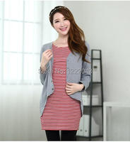 One Piece Dress Maternity Clothing Fashion Autumn Casual Nursing Clothing Nursing Faux Two Piece
