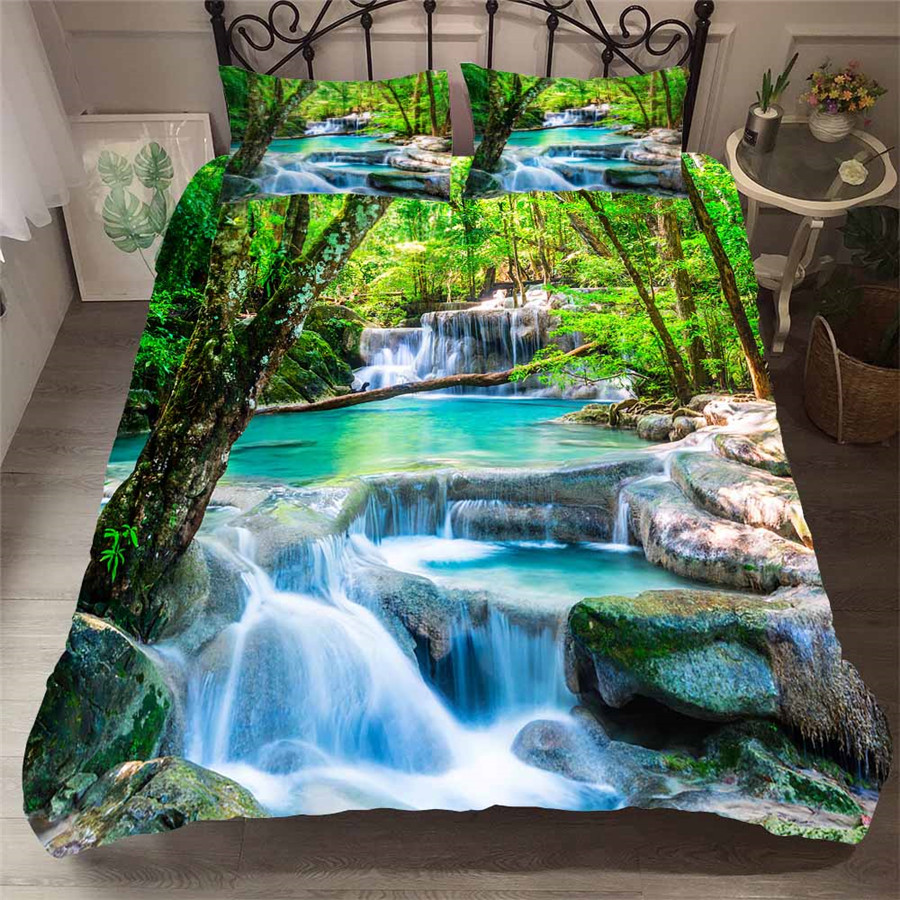 Bedding Set 3D Printed Duvet Cover Bed Set Forest waterfall Home Textiles for Adults Bedclothes with Pillowcase #SL05(China)
