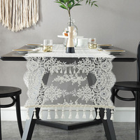 Embroidered Lace Table Runner TV Bench Stand End Table Cover Decoration with Swing 54 x 150 180 210 250 280cm 310cm Beige