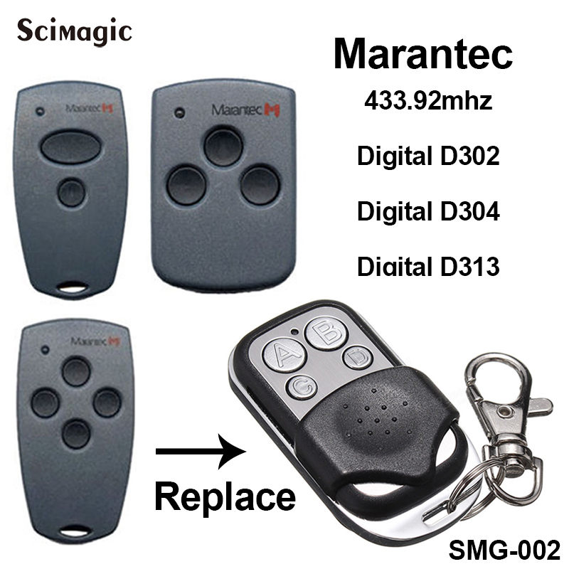 2pcs Marantec Digital D302 D304 D313 Garage Door Opener Key Duplicator Marantec Garage Controller Remote Transmitter 433.92mhz