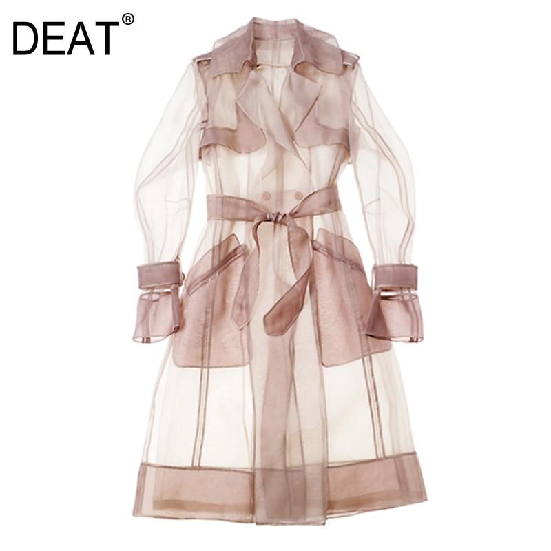 DEAT 2020 New Summer Fashion Women Clothing Shawl Thin Loose Coat Transparent Windbreaker WomanSunscreen Female Vestido ZA27411