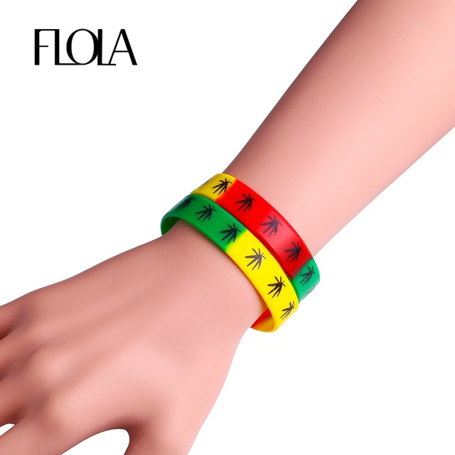 Flola 3 Colors Mix Silicone Rubber Bracelet Uni Wristband Bangles Sport Jewelry Brta03