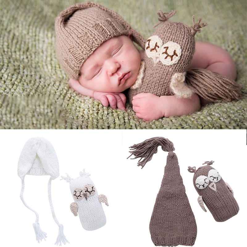 New 1Set Cute Newborn Baby Girls Boys Photography Prop Photo Owl Hat Set Crochet Knit Outfits cute newborn baby girls boys crochet knit costume photo photography prop outfit one size baby bodysuit hat 2pcs
