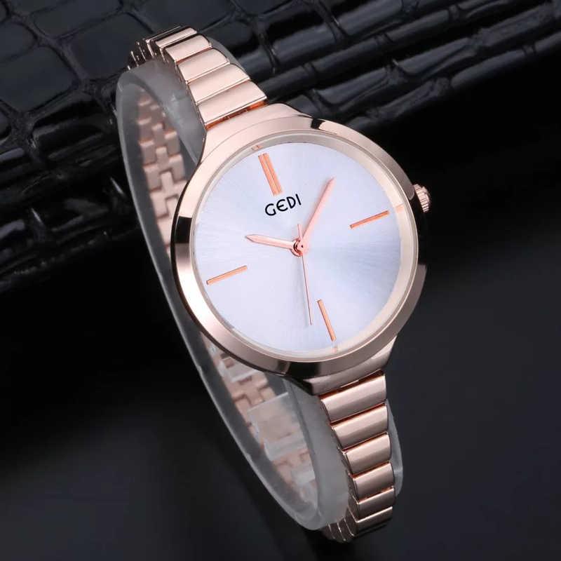 GEDI  Slim Band Rose Gold Stainless Steel Watches Women Top Brand Luxury Casual Clock Ladies Wrist Watch Lady Relogio Feminino