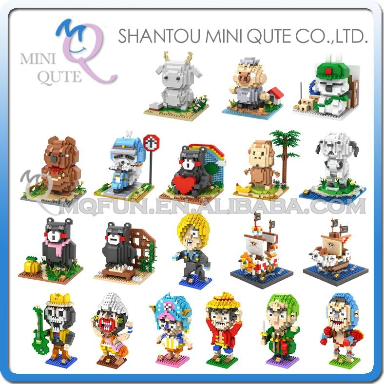 <font><b>Mini</b></font> Qute LOZ Anime <font><b>one</b></font> <font><b>piece</b></font> <font><b>Thousand</b></font> <font><b>Sunny</b></font> MashiMaro Kumamon <font><b>plastic</b></font> building block model <font><b>action</b></font> figures educational toy