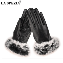LA SPEZIA Women Gloves Leather Rabbit Fur Ladies Driving Black Touch Screen Coral Velvet Winter Fleece Warm Mitten Female