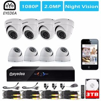 Mother S Day Eyedea 8CH Phone View Motion Detect DVR 1080P 2 0MP Dome White Video