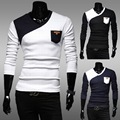 Stick a skin color matching pocket leisure men long sleeve T-shirt