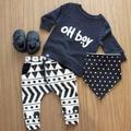 2017 Otoño bebé niño ropa de moda de algodón caliente de manga larga carta oh boy camiseta + pantalones 2 unids ropa del bebé recién nacido