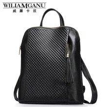 Wiliamganu 2017 nuevo mujeres del cuero genuino mochila estilo de la universidad bolsa de viaje bolsa de piel de vaca verdadera mujer mochila de cuero de diseño
