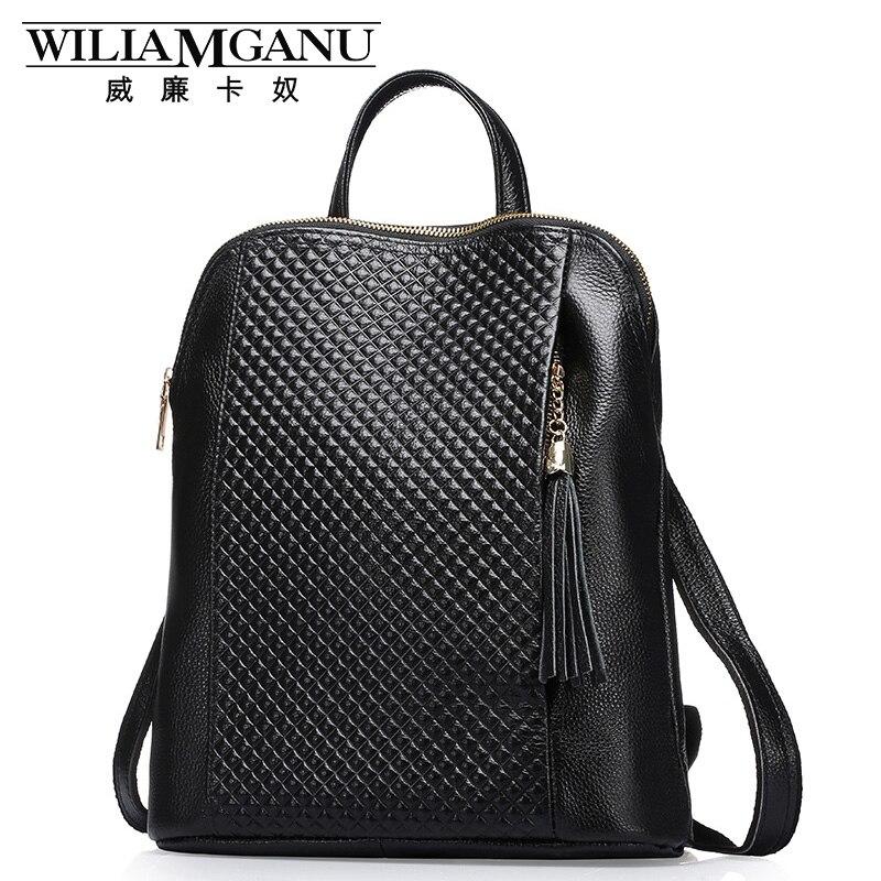 WILIAMGANU Genuine Leather Backpacks Women School Style Cowhide Travel Bag Real Leather Backpack Female Brand Designer