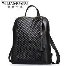 WILIAMGANU Genuine Leather Backpacks Women School Style Cowhide Travel Bag Real Leather Backpack Female Brand Designer