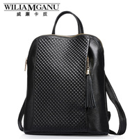 WILIAMGANU Genuine Leather Backpackswomen backp School Style Cowhide Travel Bag Real Leather Backpack Female Brand Designer 0718