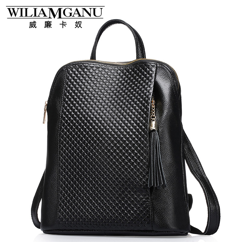 WILIAMGANU Genuine Leather Backpackswomen backp School Style Cowhide Travel Bag <font><b>Real</b></font> Leather Backpack Female Brand Designer 0718